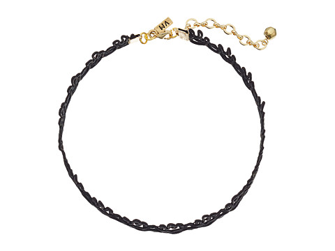 Vanessa Mooney Cord Lace Patterned Choker Necklace - Black