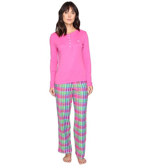 LAUREN Ralph Lauren Henley Top Flannel Pants PJ Set - Plaid Pink