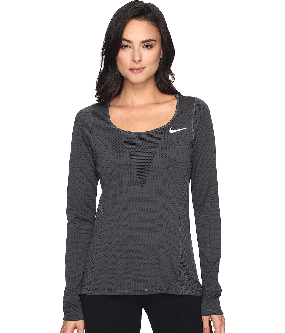 Nike - Zonal Cooling Relay Long Sleeve Running Top (Black) Women's Clothing