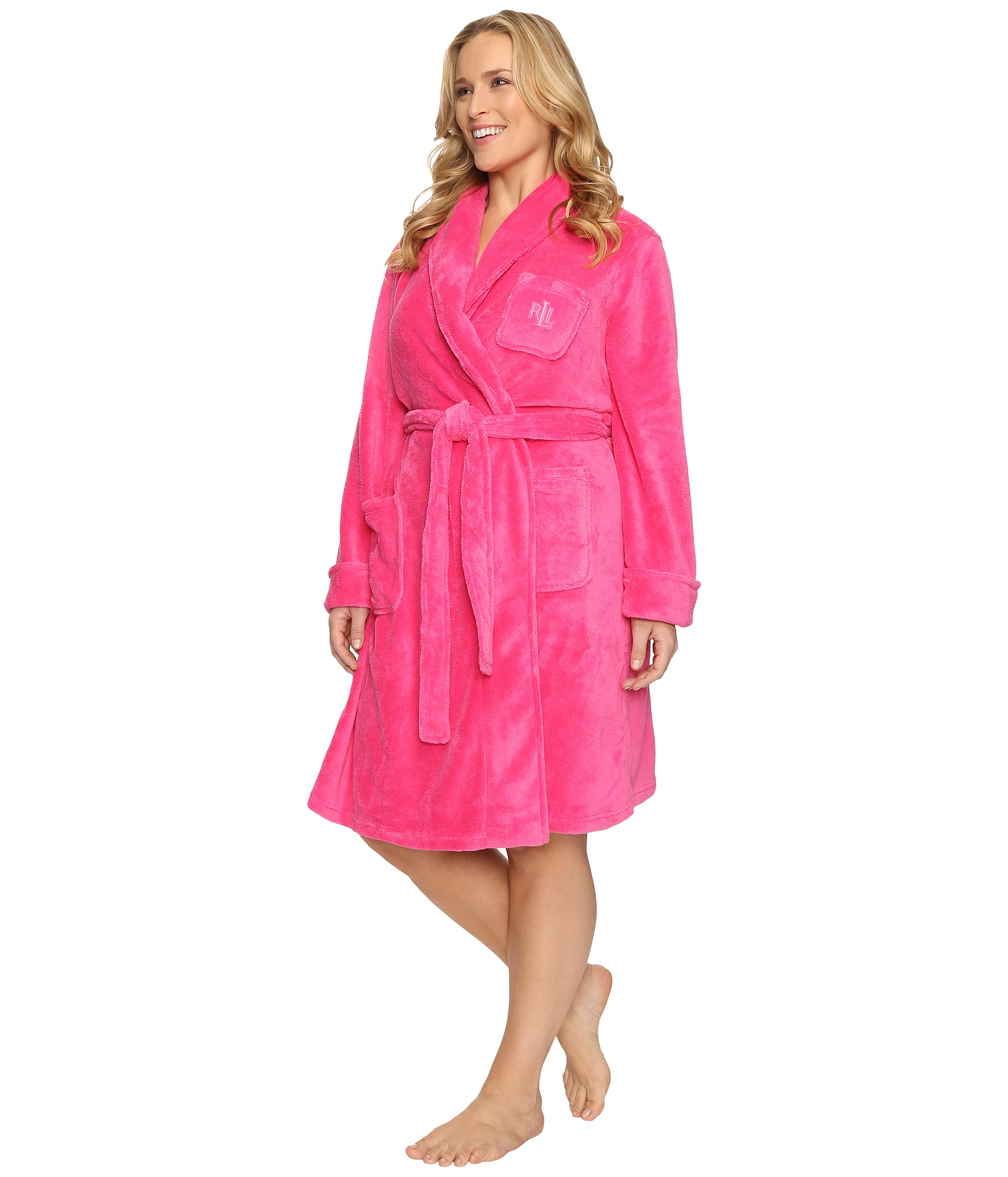 lauren ralph lauren plus size so soft short robe pink free shipping both ways. Black Bedroom Furniture Sets. Home Design Ideas
