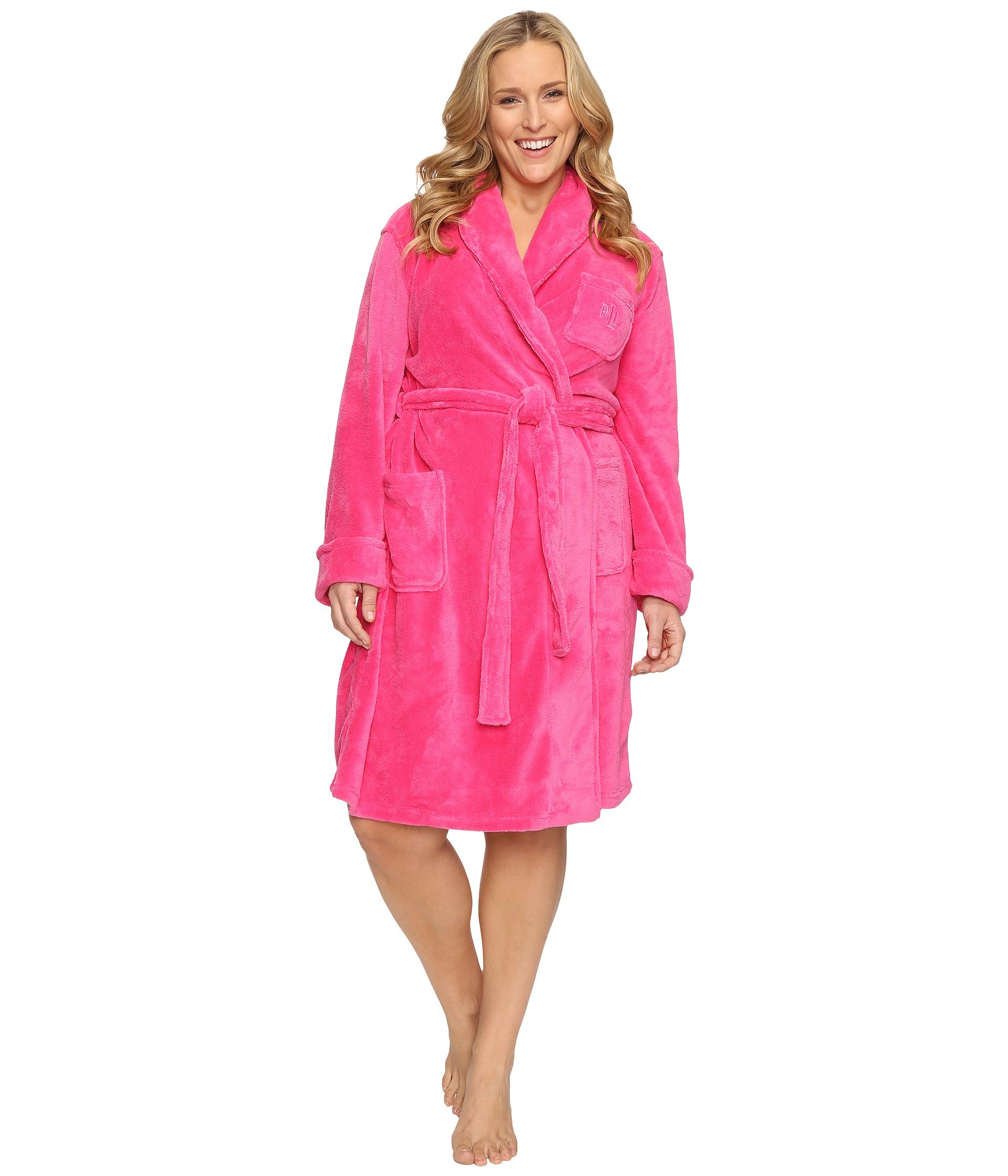 lauren ralph lauren plus size so soft short robe free shipping both ways. Black Bedroom Furniture Sets. Home Design Ideas