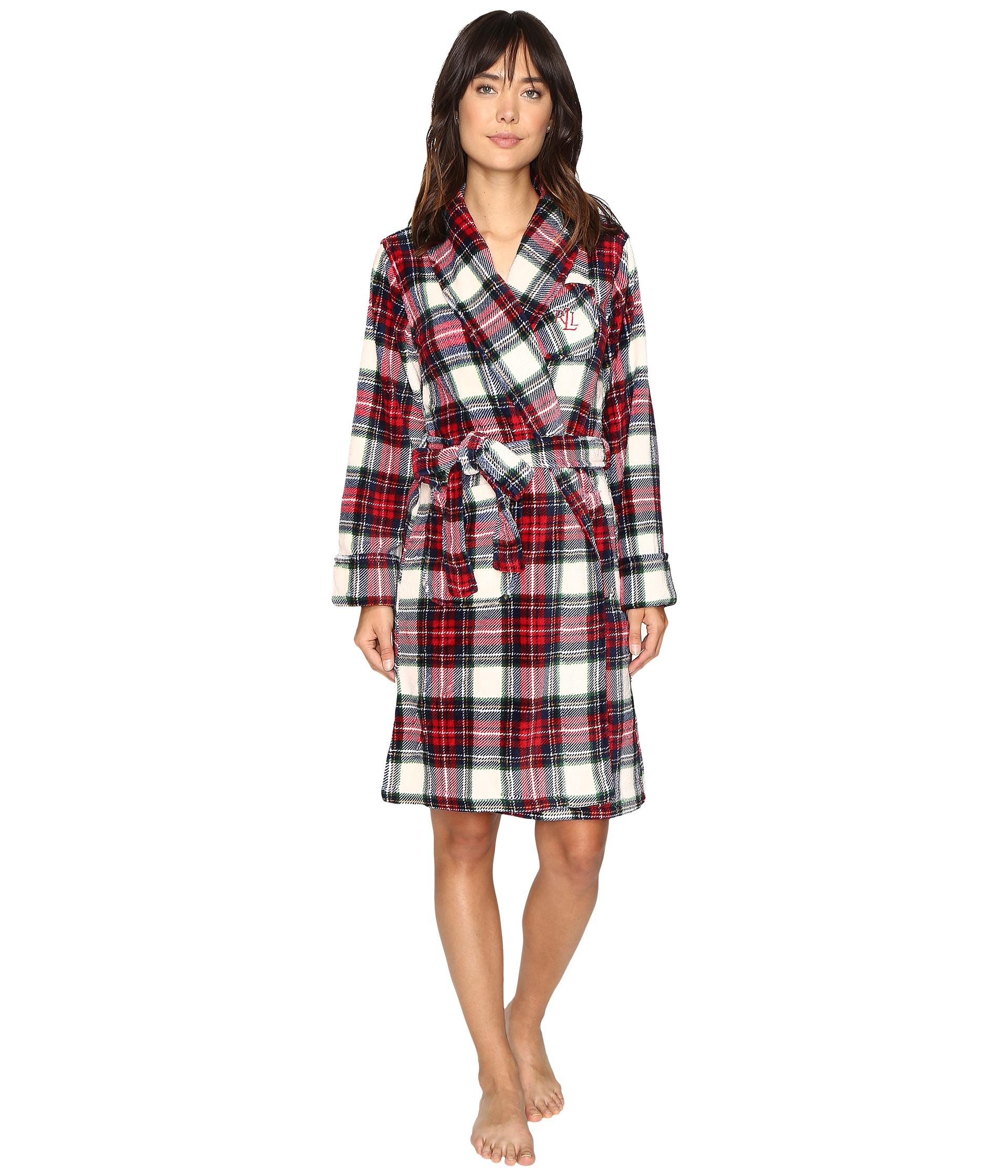 lauren ralph lauren folded so soft terry short robe plaid cream blue red free. Black Bedroom Furniture Sets. Home Design Ideas