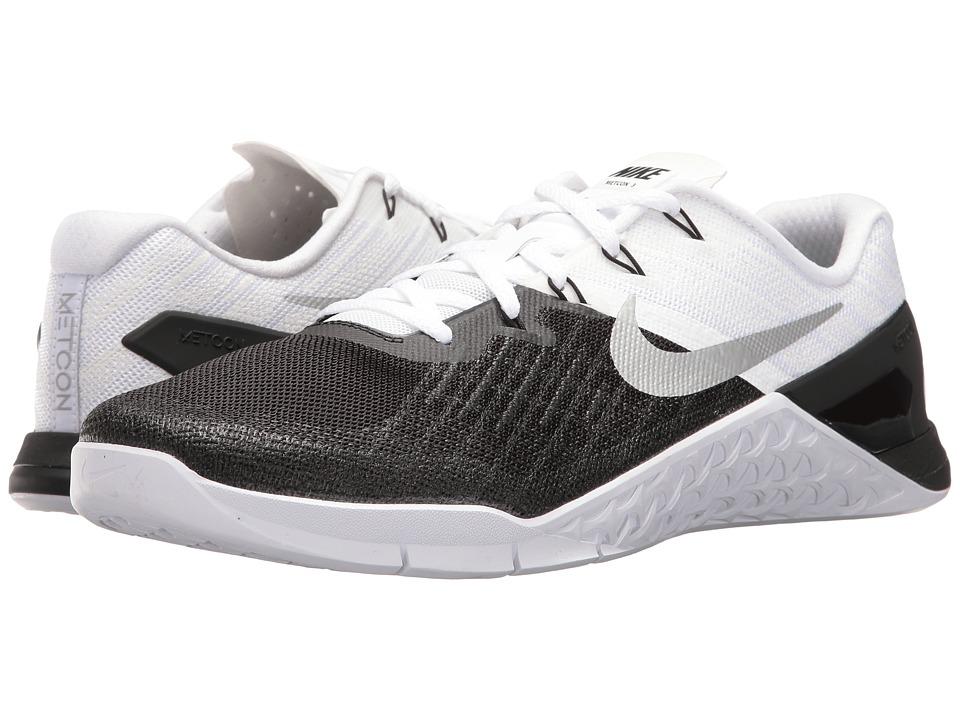 Nike Metcon 3 (Black/White/Metallic Silver) Men's Cross T...