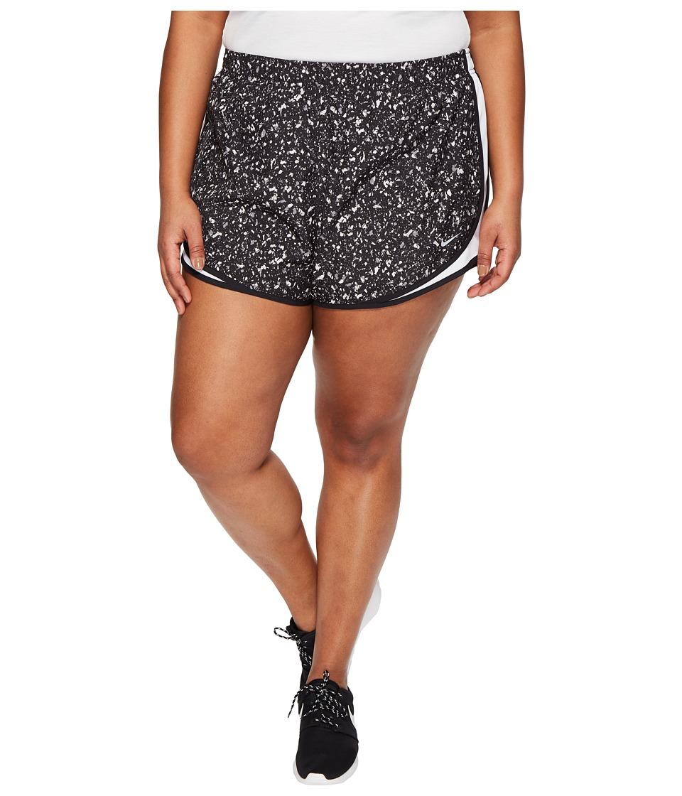 Nike Dry Tempo Print 3 Running Short (Size 1X-3X) (Black/White/Black/Wolf Grey) Women