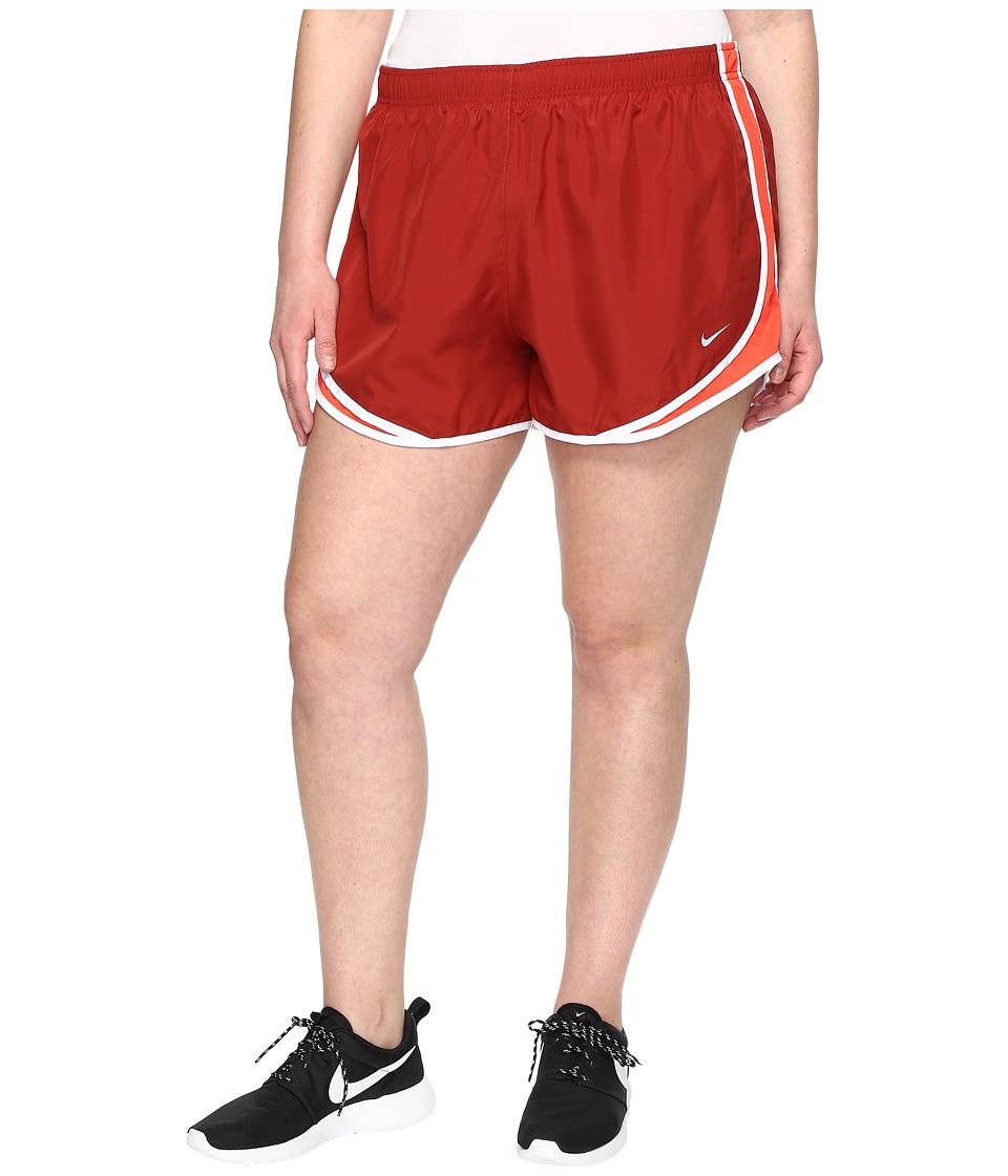 Nike Dry Tempo 3 Running Short (Size 1X-3X) (Dark Cayenne/Max Orange/White/Wolf Grey) Women
