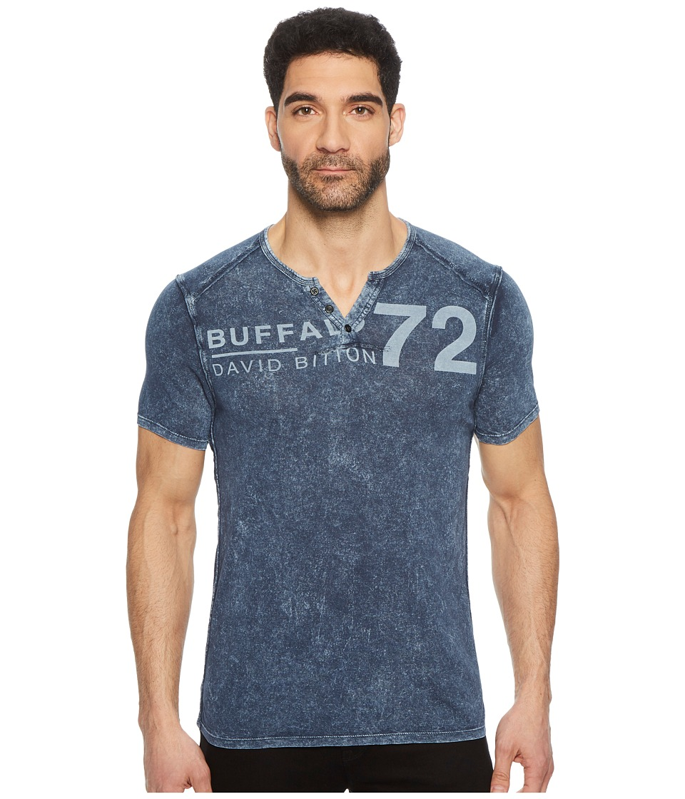 Buffalo David Bitton - Narwayne Slit Neck Henley Shirt (Whale) Mens Short Sleeve Pullover