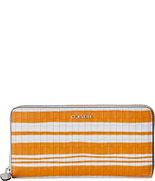 COACH - Bleecker Embossed Woven Leather Accordion Zip Wallet