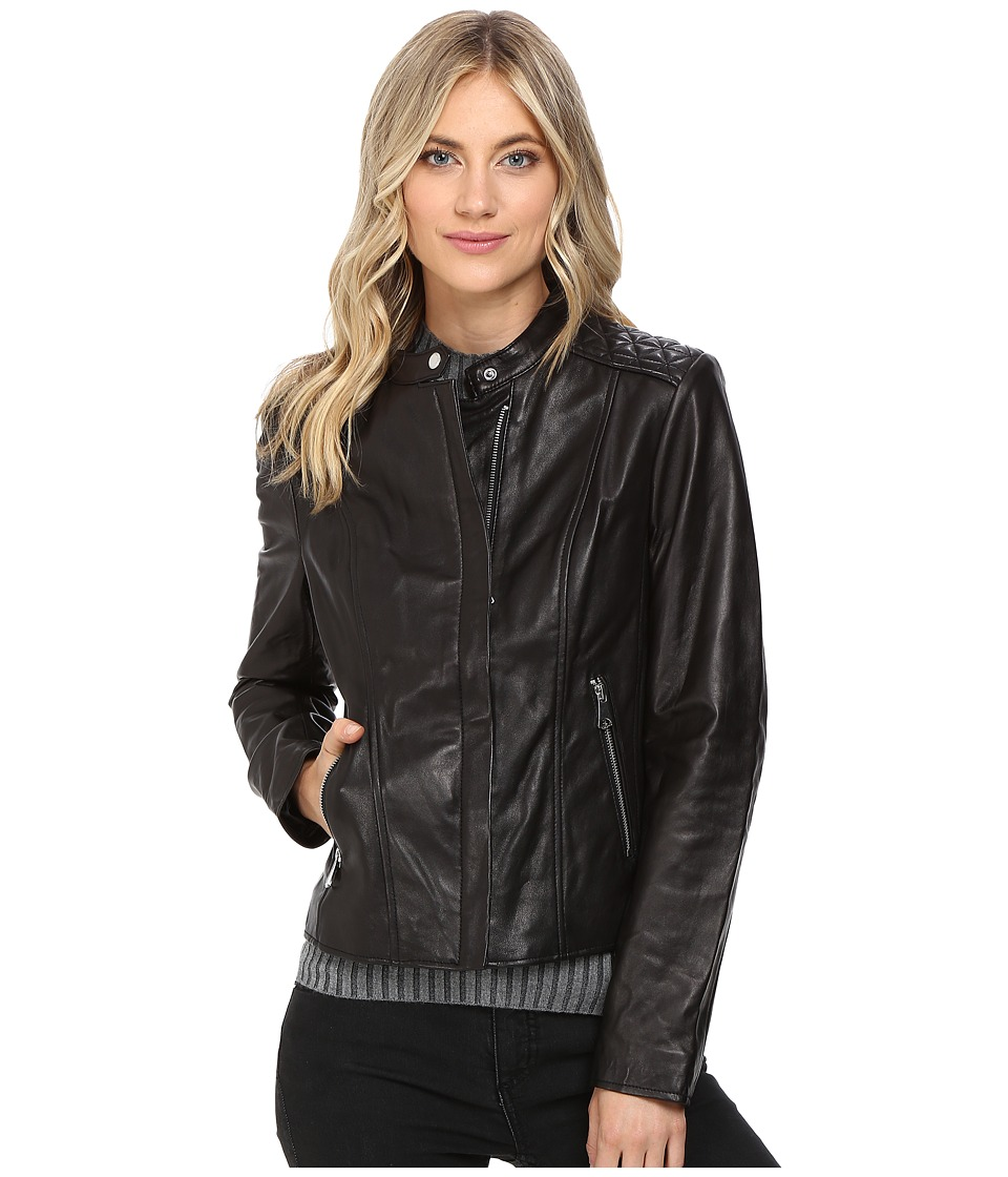 Andrew Marc Liv Leather Moto Jacket (Black) Women's Coat