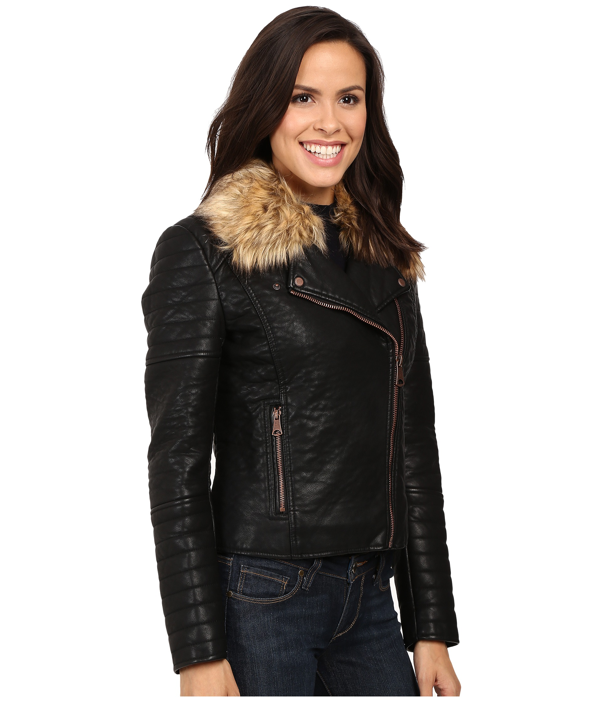 Faux Fur Jacket Leather Sleeves