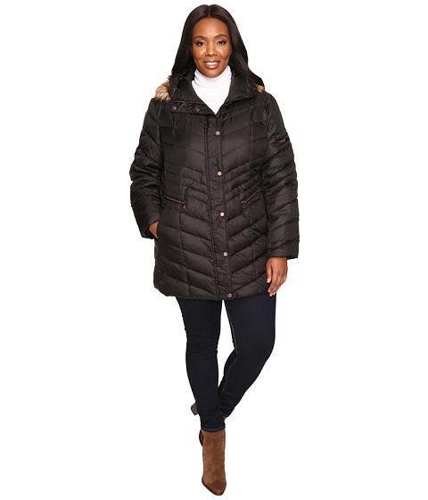 Marc New York by Andrew Marc Plus Size Renee Chevron Down Coat - Black