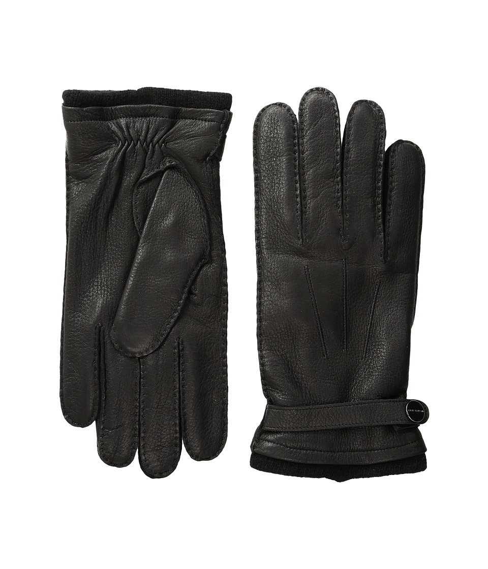 MICHAEL Michael Kors Leather Gloves w/ Handsewn Belt and Snap Detail (Black) Extreme Cold Weather Gloves