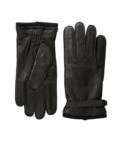 MICHAEL Michael Kors Leather Gloves w/ Handsewn Belt and Snap Detail