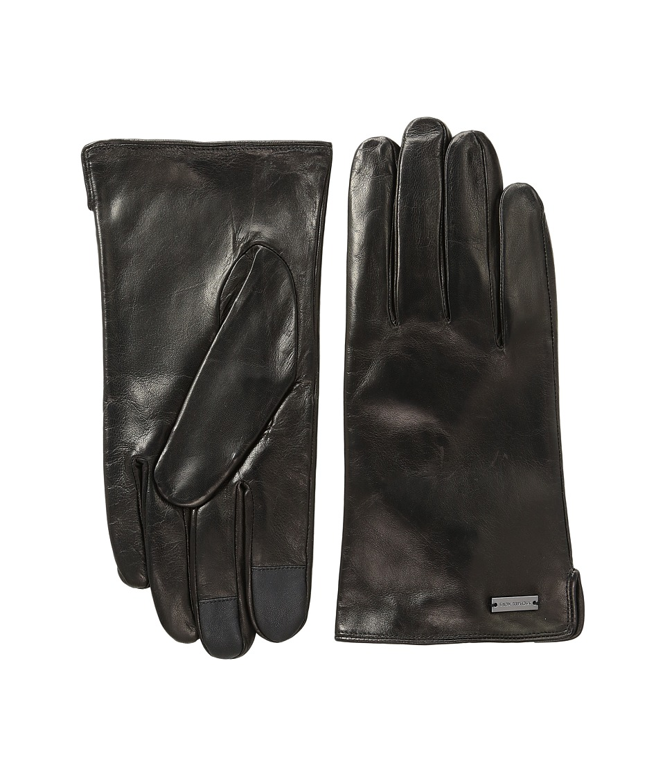 MICHAEL Michael Kors Deerskin Leather Gloves w/ Three Points and Handsewn Deer Suede Back (Black) Extreme Cold Weather Gloves