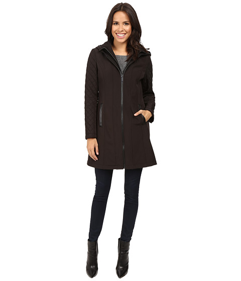 MICHAEL Michael Kors Zip Front Softshell with Hood and Quilted Sleeves M522320T