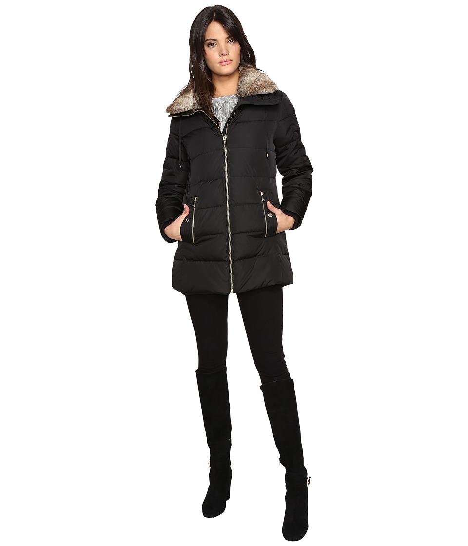 MICHAEL Michael Kors Zip Front Faux Fur Collar Down M821319T (Black) Women