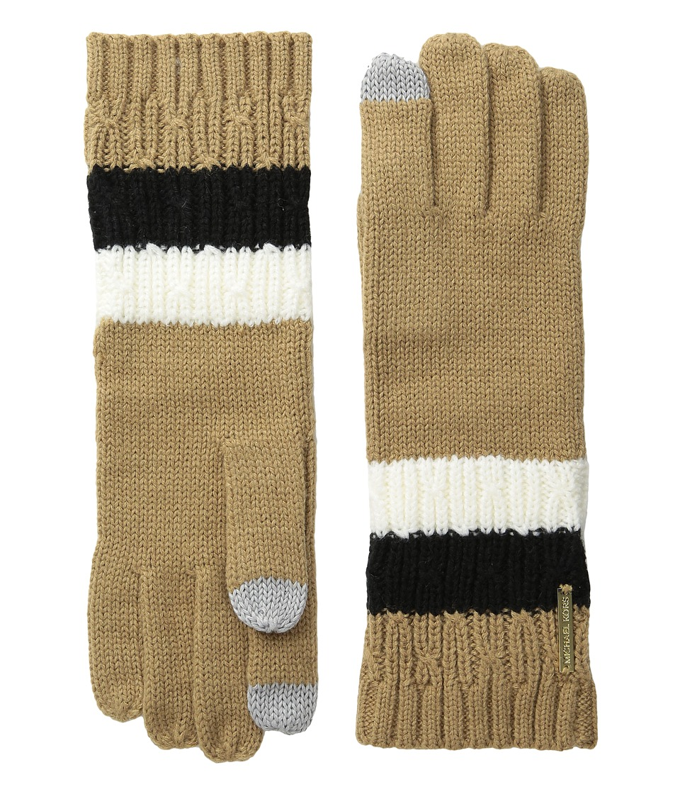 MICHAEL Michael Kors Color Block Rib/Cable Gloves with Touch Technology (Cream/Camel/Black) Extreme Cold Weather Gloves