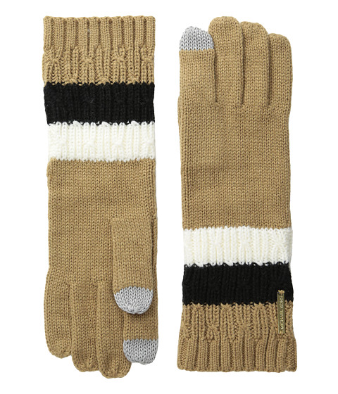 MICHAEL Michael Kors Color Block Rib/Cable Gloves with Touch Technology - Cream/Camel/Black