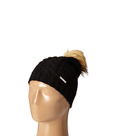 MICHAEL Michael Kors - Cable Patchwork Beanie with Faux Fur Pom