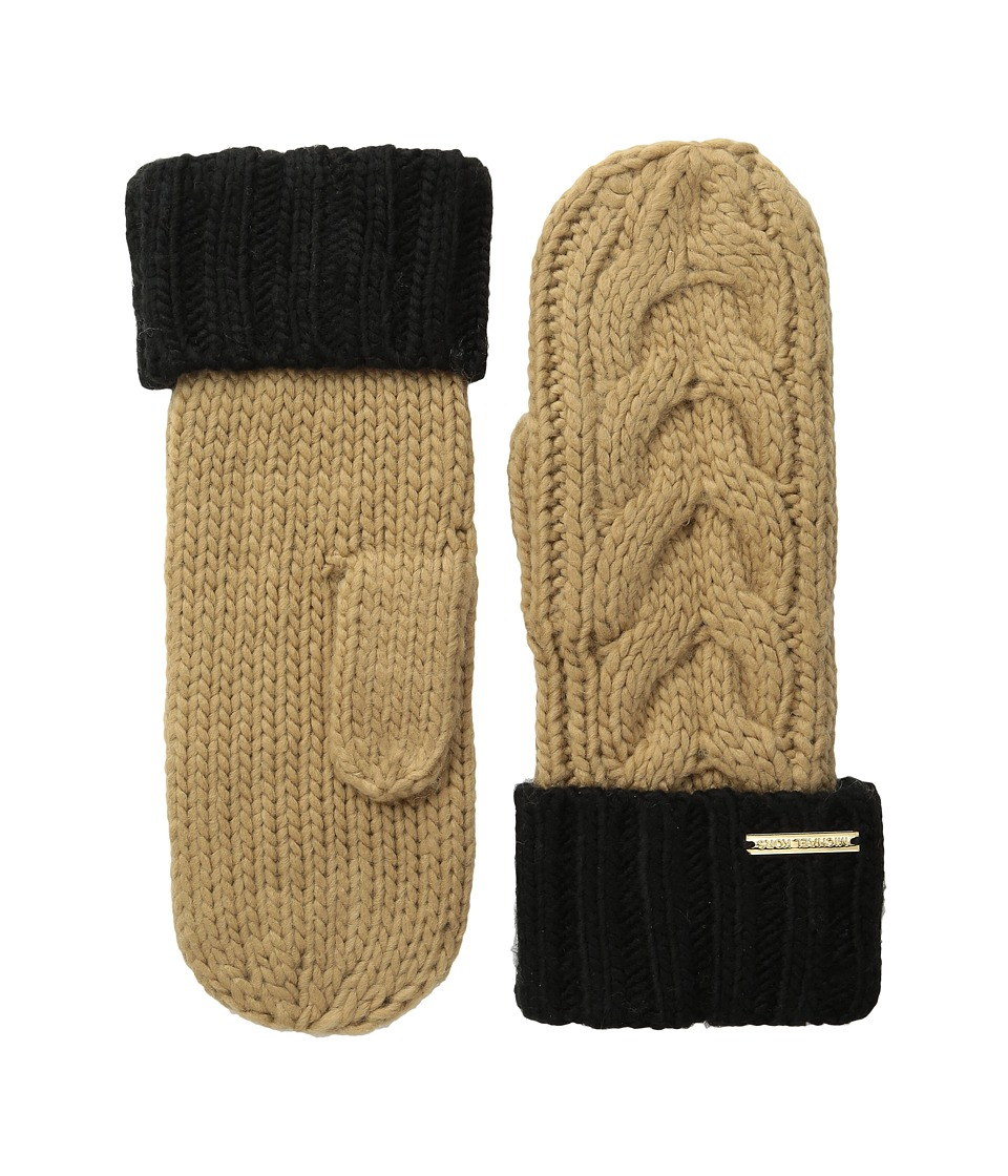 MICHAEL Michael Kors Color Block Handknit Cable Mitten (Camel/Black) Over-Mits Gloves