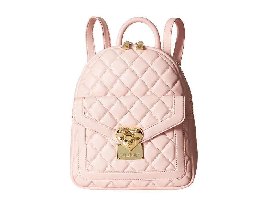 LOVE Moschino - Quilted Emblem Mini Backpack (Pink) Backpack Bags