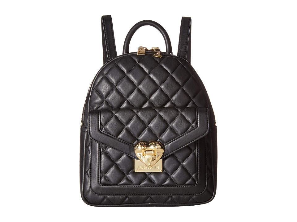 LOVE Moschino - Quilted Emblem Mini Backpack (Black) Backpack Bags