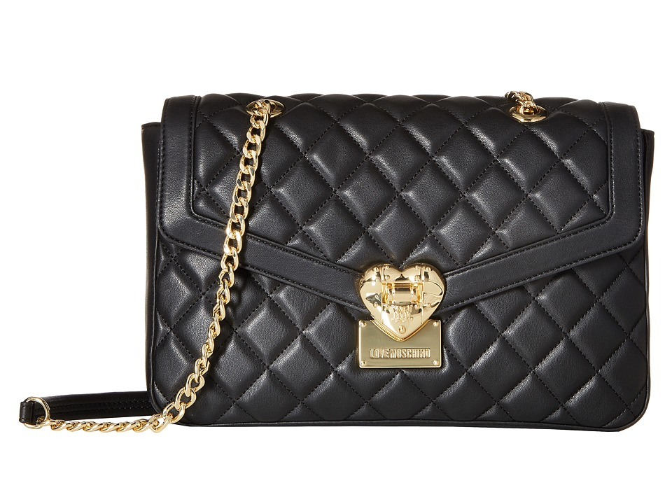 LOVE Moschino - Quilted Shoulder Bag with Chain (Black) Shoulder Handbags