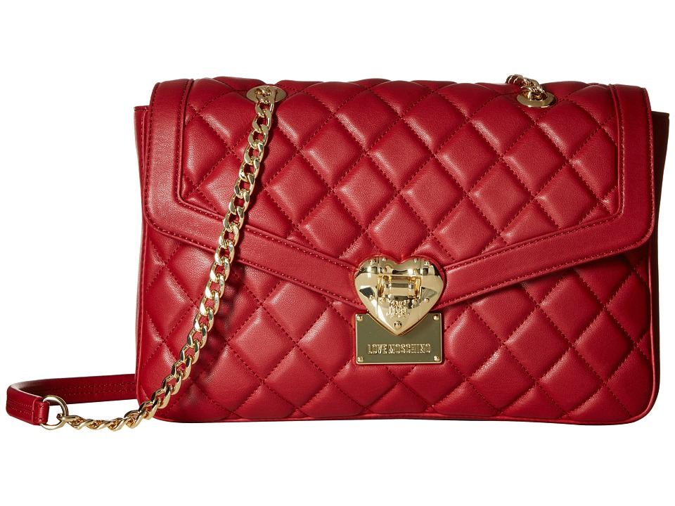 LOVE Moschino - Quilted Shoulder Bag with Chain (Red) Shoulder Handbags
