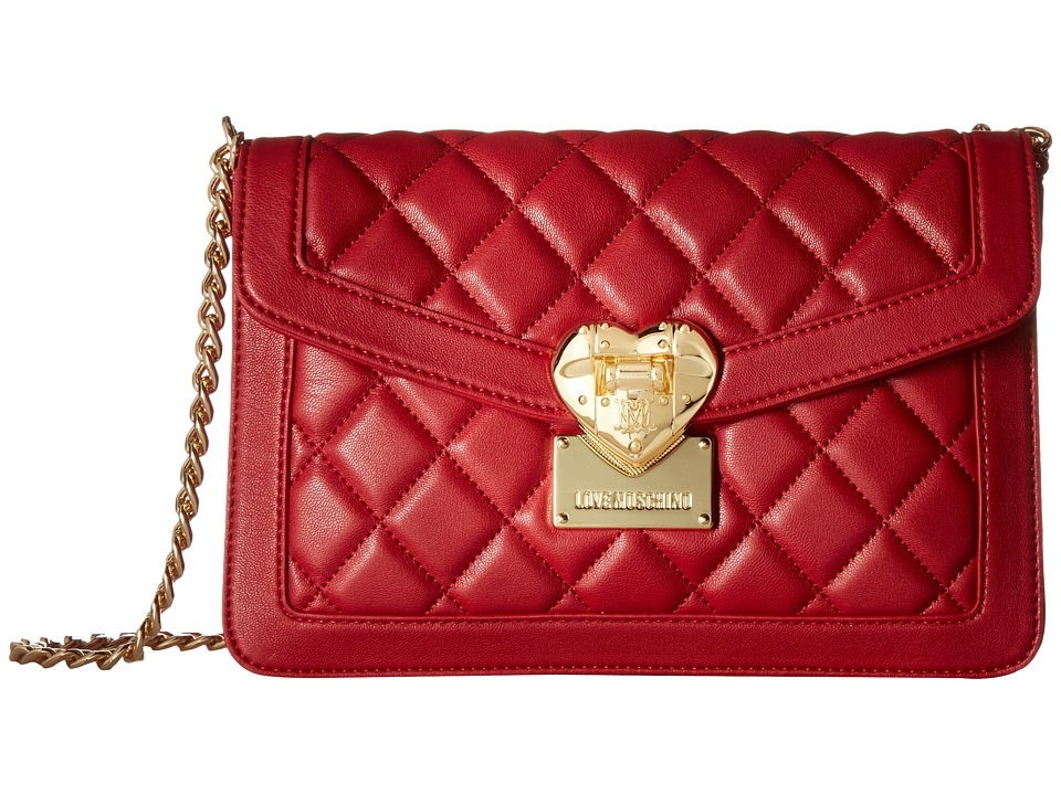 LOVE Moschino - Quilted Envelope Crossbody (Red) Cross Body Handbags