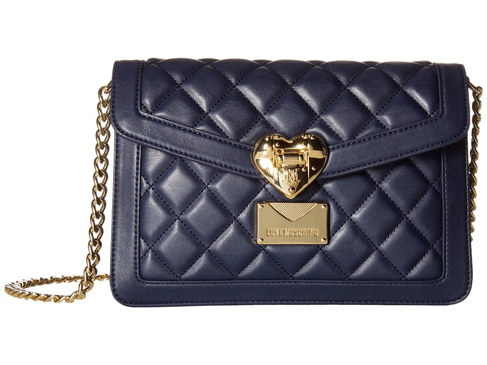 LOVE Moschino - Quilted Envelope Crossbody (Navy) Cross Body Handbags