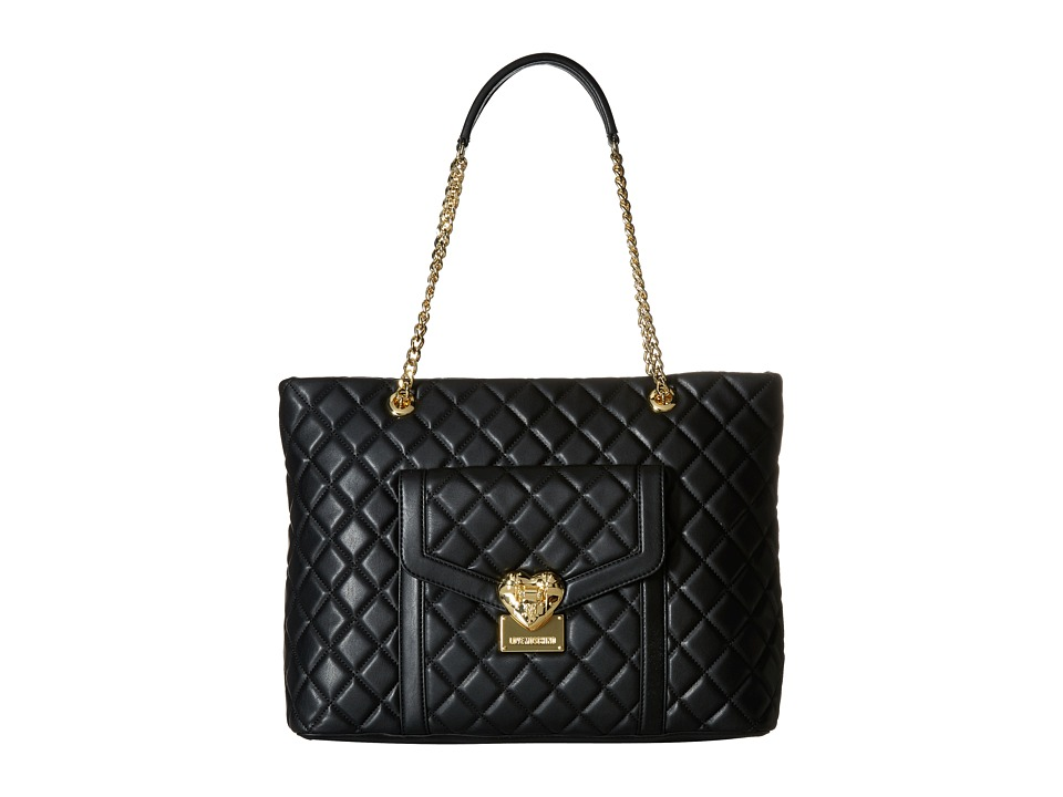 LOVE Moschino - Quilted Tote with Chain (Black) Tote Handbags