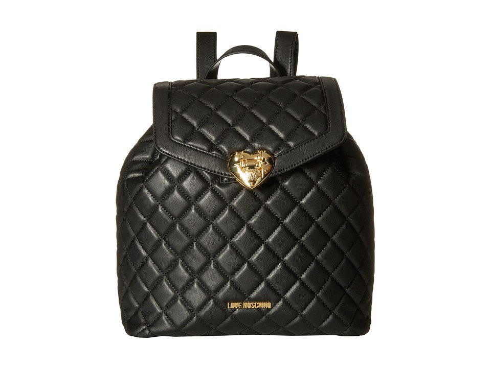 LOVE Moschino - Quilted Knapsack (Black) Backpack Bags