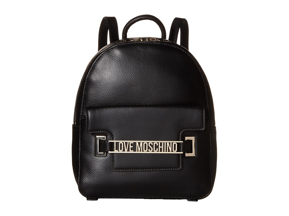 LOVE Moschino - Letter Plate Mini Backpack (Black) Backpack Bags