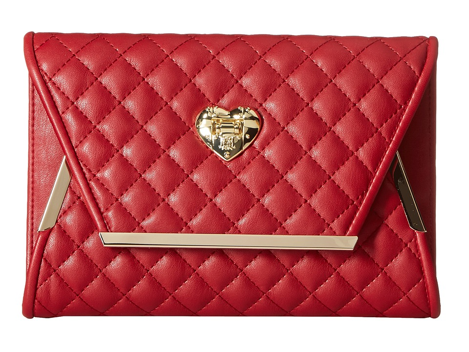 LOVE Moschino - Envelope Clutch with Gold Detailing (Red) Clutch Handbags