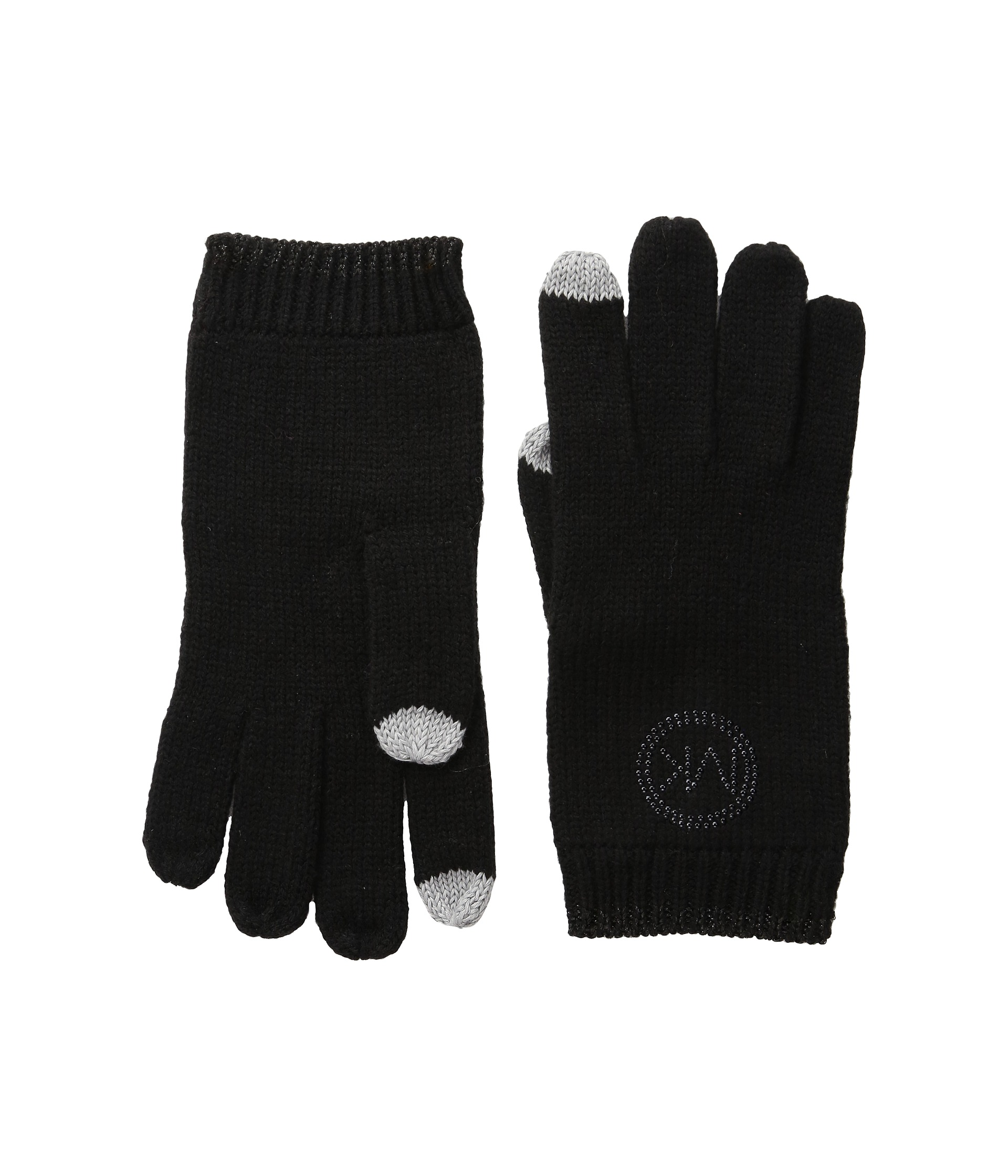 michael michael kors logo studded gloves with touch. Black Bedroom Furniture Sets. Home Design Ideas