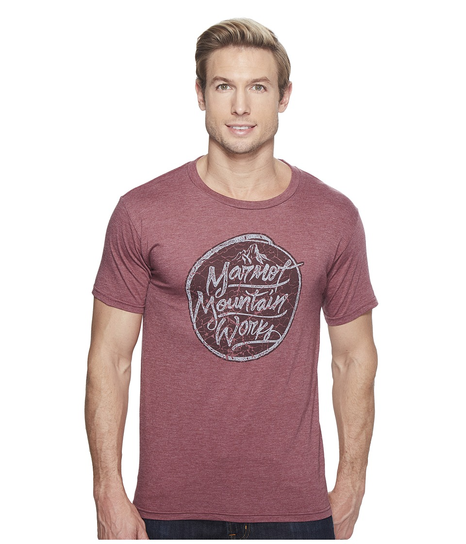 Marmot Turf Tee Short Sleeve (Burgundy Heather) Men
