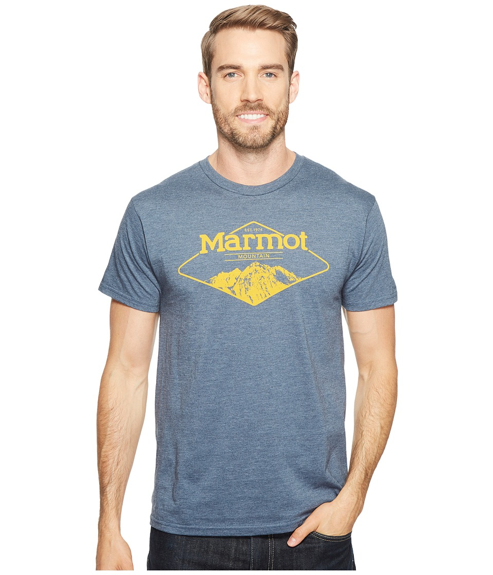 Marmot Mountaineer Tee Short Sleeve (Navy Heather) Men
