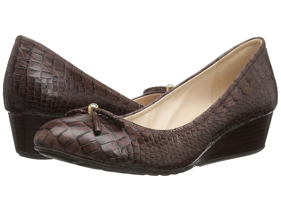 Cole Haan - Tali Grand Lace Wedge 40 (Chestnut Croc Print) Women