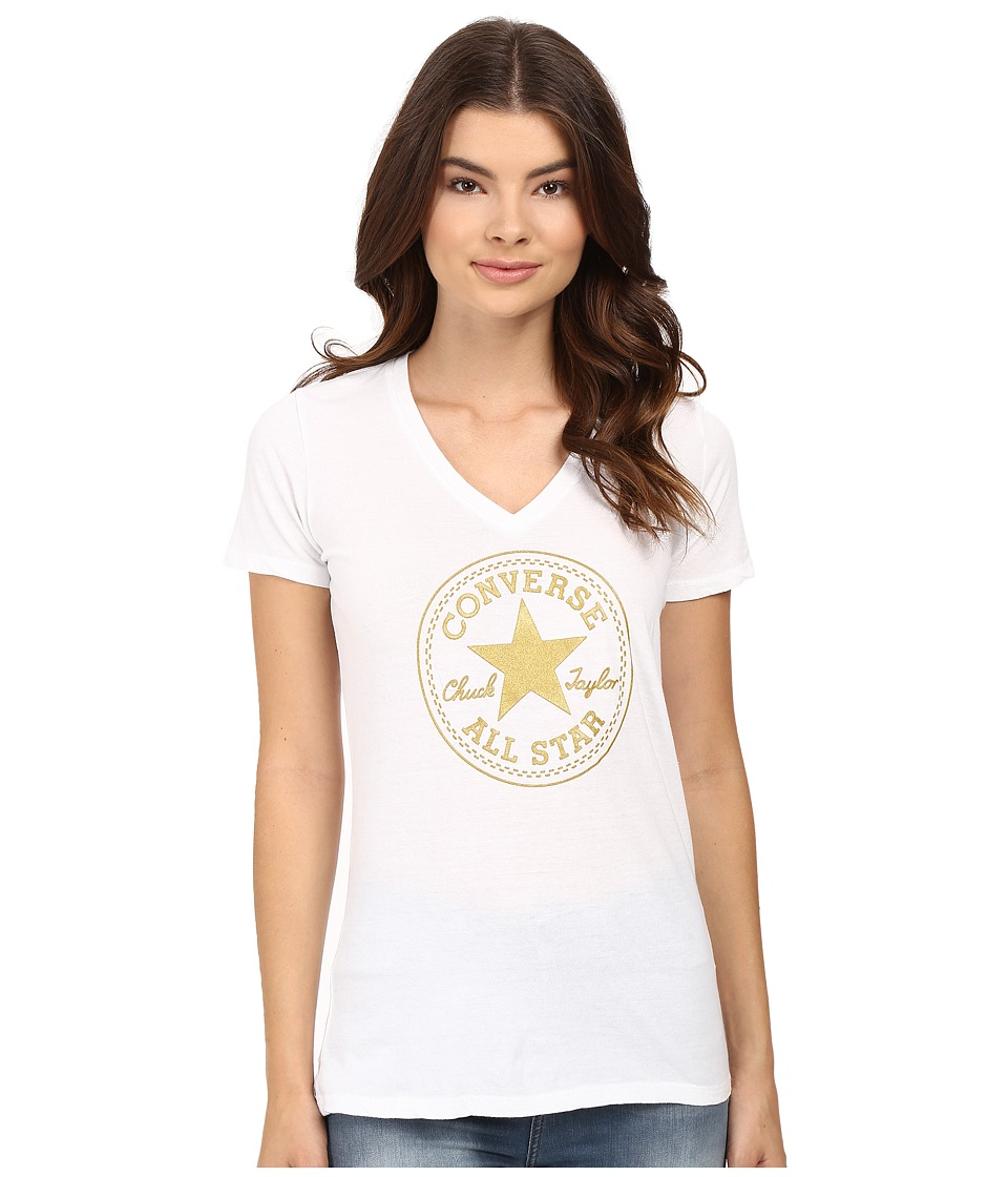 Converse - At Once Metallic Core Patch Tee (White) Women