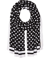 Kate Spade New York - Polka Dot w/ Stripe Oblong Scarf