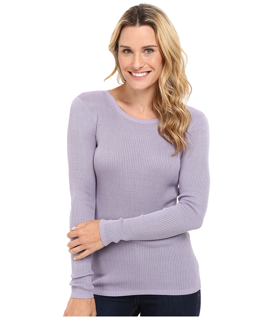 Pendleton - Rib Jewel Neck Pullover (Lavender Grey) Women