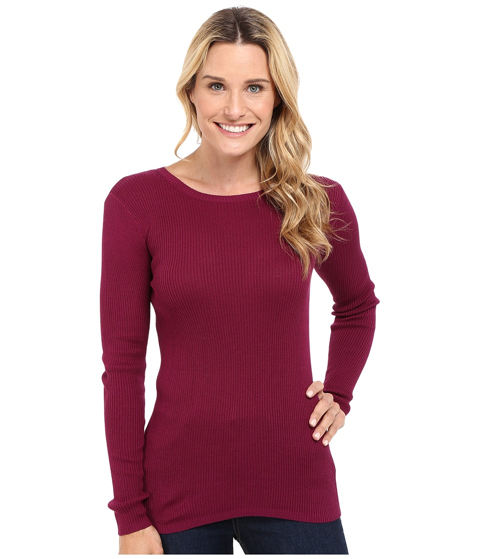 Pendleton - Rib Jewel Neck Pullover (Purple Potion) Women