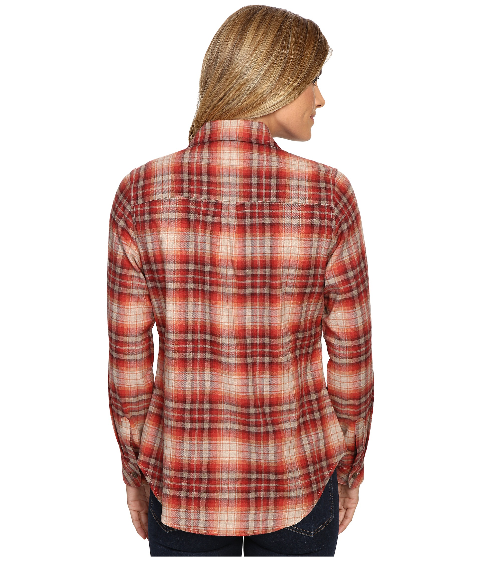 Pendleton frankie flannel shirt rosewood heather plaid for Athletic cut flannel shirts
