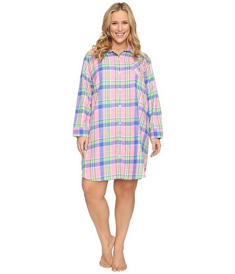 LAUREN Ralph Lauren Plus Size Brushed Twill Sleepshirt - Plaid Pink