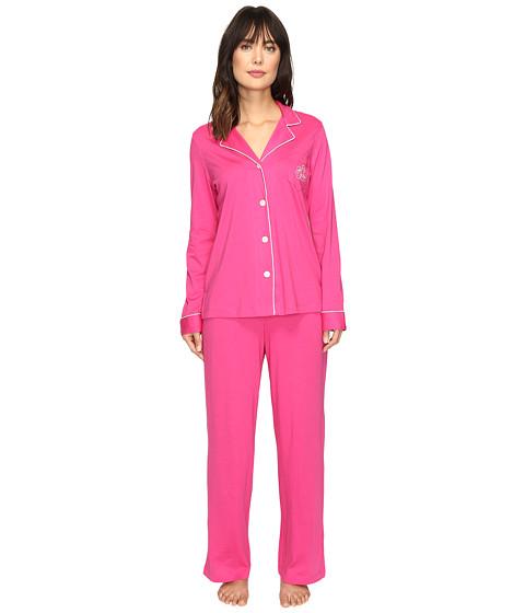 LAUREN Ralph Lauren Classic Notch Collar Pajama - Pink/Ivory Piping