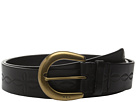 LAUREN Ralph Lauren 1 1/2 Veg Embossed Jeans Belt with Western Tooling Detail C-Buckle
