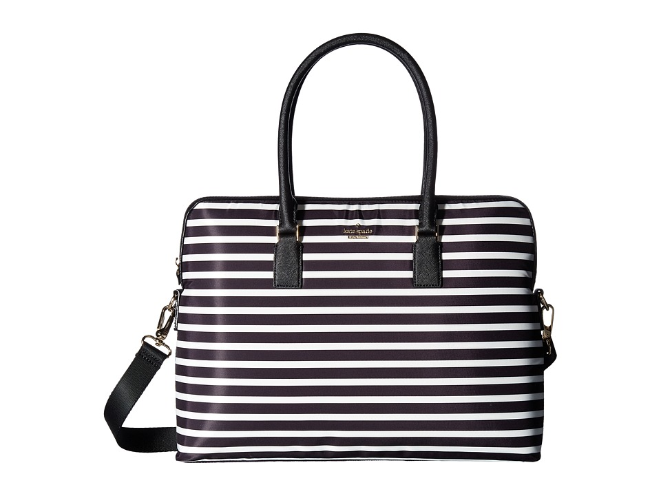 Kate Spade New York 15 Inch Nylon Satchel Laptop Case (Black/Cream) Computer Bags