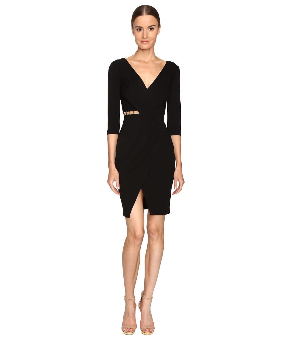 Versace Collection Long Sleeve V-Neck Knit Side Peek Dress (Black) Women