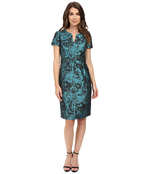 NUE by Shani Printed Jacqaurd Dress with Waistband Detail