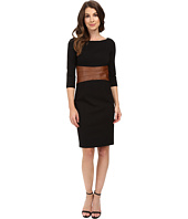 NUE by Shani - Knit Dress with Leather Waistband with Built in Shapewear