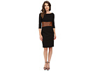Knit Dress with Leather Waistband with Built in Shapewear